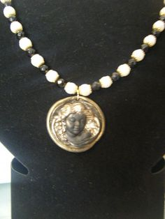 Vintage Stayle Pearl and Polymer Clay Necklace., £12.00