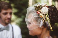 Veil, flowers, moss, pearls, fabric.... so much gorgeousness going on.