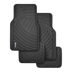 U.A.A Sport Logo Black Rubber Front Rear Floor Mats 4pc Set Universal-fit for Honda Civic INC