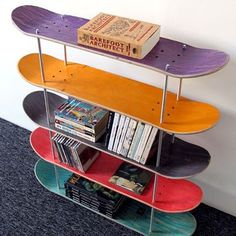 Shelf made by recycled skateboards.-Shelf made by recycled skateboards. by SkateMood on Etsy -