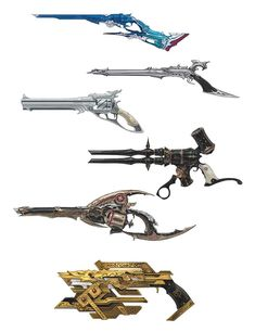 View an image titled 'Machinist Guns Art' in our Final Fantasy XIV: Heavensward art gallery featuring official character designs, concept art, and promo pictures. Anime Weapons, Sci Fi Weapons, Armor Concept, Weapon Concept Art, Weapons Guns, Fantasy Sword, Fantasy Armor, Final Fantasy Xiv, Armas Ninja