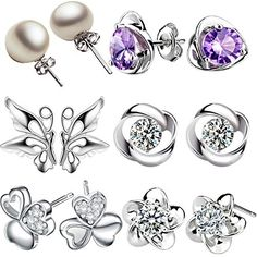 12 Pieces Small Cute Simple Post Stud Earrings Set for Girls Kids Silver Tone Mix and Match -- See this awesome product @ http://www.amazon.com/gp/product/B01CUG60UA/?tag=splendidjewelry07-20&pkl=240716073256