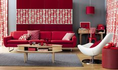 Outstanding-Red-Living-Room-Design-With-Pendant-Lamp
