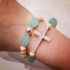Cross bracelet set by AroundMyWrist on Etsy Bracelet Set, Cross Bracelets, Beaded Bracelets, Jewelry Accessories, Jewelry Design, Unique Jewelry, Christian Crafts, Baubles And Beads, Meaningful Jewelry