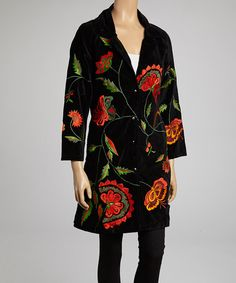 Take a look at this Black & Orange Velvet Jacket - Women by Jayli on #zulily today!