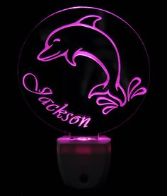 Smiling Dolphin Light Sensor LED Plug In Night Light, Personalized Custom LED Nightlight by NeedForLight on Etsy