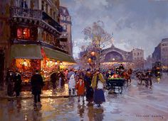 Les Halles by Edouard Cortes (1882-1969, France)