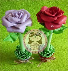 Canetas Decoradas Rosas em EVA