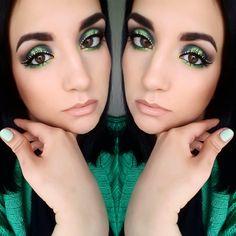 #maquillage #makeup #mua #look #coloré #love #eyes #browneyes #eyeshadows #greenmakeup