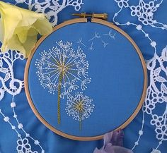 embroidery kit - Embroidery pattern - embroidery hoop art this kit contains everything you will need to make this dandelion. It uses 2 basic stitches and would make a nice starting pattern for a beginner stitcher This kit includes: The kit includes - Pre-printed 100% Cotton