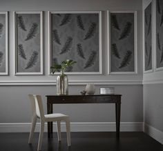 This Fawning Feather Wallpaper in silver and grey features a simple but effective feather motif with contrasting matte and metallic finishes for added depth Bedroom Bed Design, Home Room Design, New Living Room, Living Room Decor, Hallway Wallpaper, Wallpaper Feature Walls, Feather Wallpaper, Decorative Wall Panels, Wall Molding
