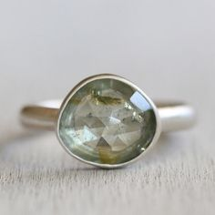 Mint Green Tourmaline Gemstone Ring in Silver - Rose Cut Green Gemstone Ring - Recycled