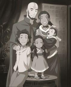 Aang, Katara, Bumi, Kya, and Tenzin