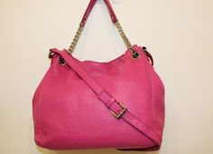 Jet off to destinations unknown with Michael Kors- Pink Jet Set Chain Shoulder Tote. Can be found at (www.handbagconsignmentshop.com)
