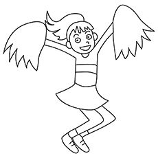 Cheerleader with Pom Poms Coloring Page | Illstration | Pinterest ...