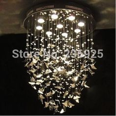 Stainless Steel Butterfly Dia40CM/50CM/60CM LED Crystal Lamp Art Band Designer XX76