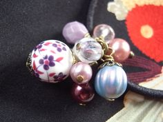 Purple china handmade accessory crafts beads Hair Elastic