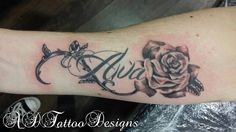 Cap, leading back to clavicle tat Rose Tattoo With Name, Name Tattoos On Arm, Vine Tattoos, Baby Tattoos, Family Tattoos, Hot Tattoos, Couple Tattoos, Trendy Tattoos, Unique Tattoos