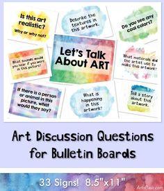 An art critique bulletin board with generic topics High School Art, Middle School Art, Art History Lessons, Art Lessons, Art Bulletin Boards, Art Boards, Programme D'art, Line Art Projects, Art Room Posters