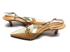 "Womens Designer Shoes Diane B Sling Back  Buckle Leather  2 1/2"" Heel Sz 7M #DianeB #Slingbacks"