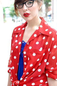 Keiko Lynn-knotted button up shirt over bright camisole.