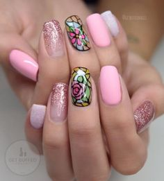 Beauty and the Beast inspired nails Disney Nail Designs, Gel Nail Designs, Cute Nail Designs, Nails Design, Beauty And The Beast Nails, Beauty Nails, Crazy Nails, Fancy Nails, Get Nails
