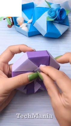 How to Fold a Paper Box: 12 Steps. - How to Fold a Paper Box: 12 Steps (with Pictures) … - Origami Rose, Origami Butterfly Easy, Instruções Origami, Origami Ball, Paper Crafts Origami, Diy Crafts For Gifts, Paper Crafts For Kids, Origami Videos, Origami Heart