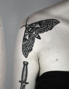 moth by kamil czapiga #shoulder #tattoos