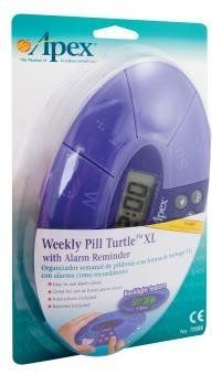 Purple Weekly Pill Turtle XL With Reminder Clock by Apex. $9.67. A unique, attractive shape. Easy to read raised letters and Braille markings. Lids that snap securely shut. Large digital readout and back light. Reminder alarm can be set up to 4 times a day. Opaque base with (translucent) purple lids.