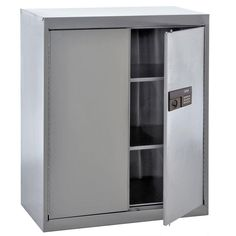 42 in. H x 36 in. W x 18 in. D Freestanding Stainless Steel (Silver) Cabinet