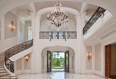 The Stone Mansion, Alpine, NJ Gorgeous entry/staircase Grand Foyer, Grand Staircase, Staircase Design, Grand Entrance, Entry Stairs, Main Entrance, Entry Hall, Front Entry, Double Staircase