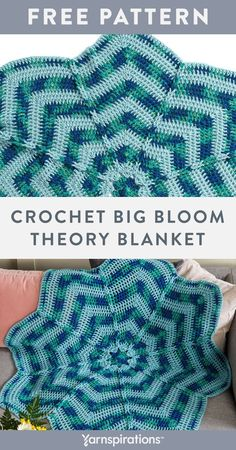 Free Crochet Big Bloom Theory Blanket pattern using Caron One Pound yarn. Express your love of flowers with this whimsical, oversized crochet blanket! Worked in the round to form 8 segments, each petal is separated by a column of chain stitches that are all linked together to form a decorative ridge that radiates from the center to the outer edge of the flower. #Yarnspirations #FreeCrochetPattern #CrochetAfghan #CrochetThrow #CrochetBlanket #CaronYarn #CaronOnePound Free Crochet, Knit Or Crochet, Crochet Hats, Caron One Pound Yarn, Caron Yarn, Afghan Patterns, Crochet Blanket Patterns, Chain Stitch, Whimsical