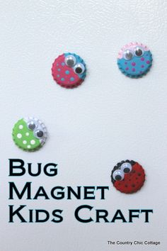 Need a quick craft for the kids to make on a rainy day?  This great bug magnet kids craft will help you to fight off boredom.  Grab a few bottle caps and some paint to get started. ∙ diy home decor, bottle caps, bug magnet, decor crafts, diy crafts for kids, crafts diy kids summer, bottle cap crafts for kids, quick craft, kid crafts