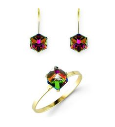 Childs 14k Yellow Gold Mystic Fire Topaz Stud Earring Ring Set