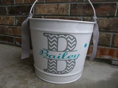 Personalized Chevron Intial 10qt Pail / Easter Bucket