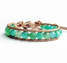 Peruvian Blue Opal Bracelet, Opal Jewelry, Blue Wrap Bracelet, October Birthstone by Belky's Bracelets, $40.00