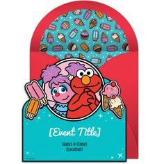 Free Elmo & Abby Sesame Street Invitation - Perfect for an ice cream party or beach party! #sesamestreet #elmo