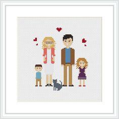 Personalized family 5 characters PDF Cross Stitch Pattern