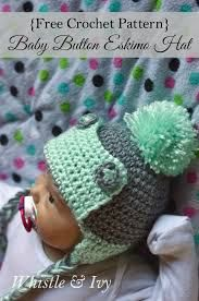 Baby Button Eskimo hat free crochet pattern