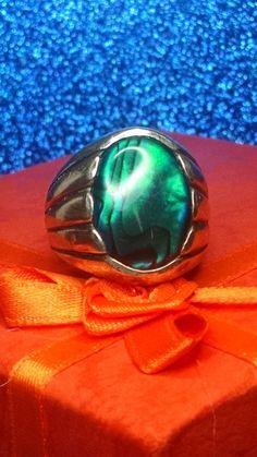 Vintage Sterling Silver Signed Navajo Ring Green Abalone Southwestern | eBay