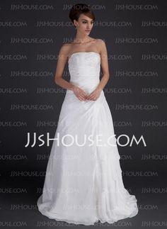 Wedding Dresses - $114.59 - A-Line/Princess Strapless Floor-Length Chiffon Satin Wedding Dresses With Ruffle Beadwork (002012595) http://jjshouse.com/A-line-Princess-Strapless-Floor-length-Chiffon-Satin-Wedding-Dresses-With-Ruffle-Beadwork-002012595-g12595