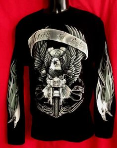 Live to ride Harley M/bike eagle image on black cotton long sleeve tee 2 in Vehicle Parts & Accessories, Clothing, Merchandise, Media, Motorcycle Merchandise Eagle Images, Eagle Art, Luigi, Woodworking Projects, Long Sleeve Tees, Motorcycle, Bike, Best Deals, Shirts