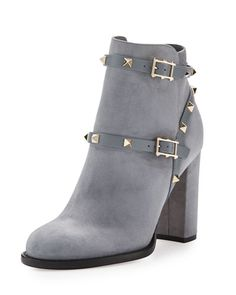 Neiman Marcus   Valentino Rockstud Suede 100mm Ankle Boot, Light Gray