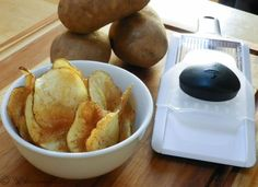 If you're gonna be bad, there's no point in holding back. That's my thinking anyway. So when I saw OXO's hand-held mandoline in my goodie bag from Camp Blogaway, I knew right away I needed to make potato chips. Airy, crispy, salty, honest-to-goodness potato chips. See how ...