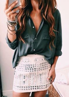 slouchy blouse and fitted skirt.