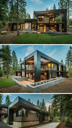 This New California House Makes Itself At Home In The Forest The home, designed as a secluded and relaxing environment for a family, has plenty of outdoor room and combines wood with black elements for a dramatic color palette. Facade Design, Exterior Design, Exterior Colors, Cafe Exterior, Villa Design, Casas Containers, California Homes, Truckee California, Contemporary Decor