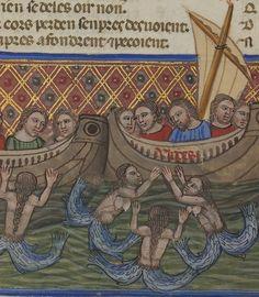 Bibliothèque nationale de France, Département des manuscrits, Français 782, detail of. f. 197r. Benoît de Sainte-Maure, Le Roman de Troie (14th century)