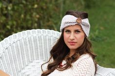 Headband - Large Wood Button, Tan, Straw , Knitted , Knit ,infinity, Button, Wide Headband, Turban, Christmas Gift
