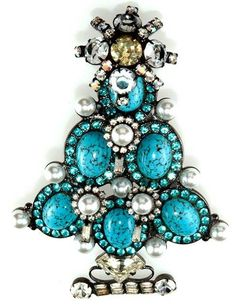 Vintage Turquoise Christmas Tree Pin