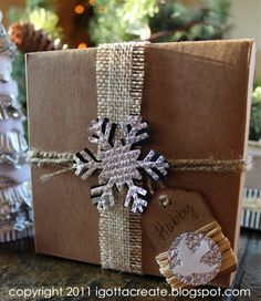 """turn an empty cardboard box inside out for instant """"no wrap"""" gift solution! http://igottacreate.blogspot.com/2011/12/last-minute-no-paper-gift-wrap.html"""
